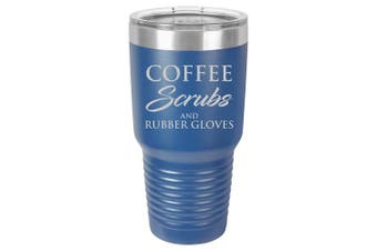 (890ml, Blue) - Tumbler Stainless Steel Vacuum Insulated Travel Mug Coffee Scrubs And Rubber Gloves Nurse Doctor Dentist Dental Assistant Therapist (Blue, 890ml)