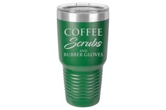 (890ml, Green) - Tumbler Stainless Steel Vacuum Insulated Travel Mug Coffee Scrubs And Rubber Gloves Nurse Doctor Dentist Dental Assistant Therapist (Green, 890ml)