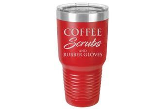 (890ml, Red) - Tumbler Stainless Steel Vacuum Insulated Travel Mug Coffee Scrubs And Rubber Gloves Nurse Doctor Dentist Dental Assistant Therapist (Red, 890ml)
