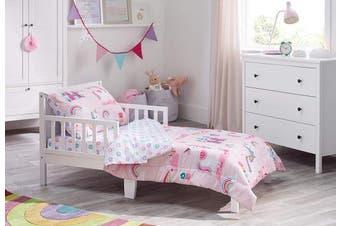 Bloomsbury Mill - 4 Piece Toddler Comforter Set - Magic Unicorn, Fairy Princess & Enchanted Castle - Pink - Kids Bedding Set