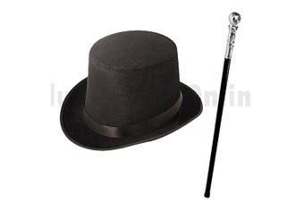 (Black) - Blue Planet Fancy Dress ® Adults Factory Owner Top Hat & Cane Book Week Fancy Dress (Black)