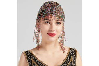 (Colorful) - BABEYOND 1920s Beaded Cap Headpiece Roaring 20s Beaded Flapper Headpiece Belly Dance Cap Exotic Cleopatra Headpiece for Gatsby Themed Party (Colourful)