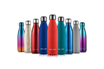 (Dark red, 500ML) - CMXING Stainless Steel Vacuum Insulated Water Bottle Reusable Double Walled Drinks Bottle Flask Standard Mouth-12 Hours Hot & 24 Hours Cold - 500ml & 750ml-Non-Toxic BPA Free