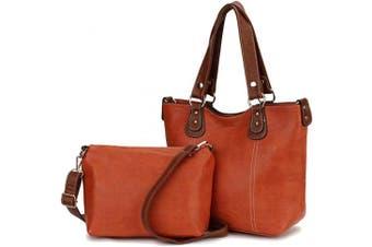 (Orange) - Handbags for Ladies,Fashion Pu Leather Womens Handbags Convertible Tote bag Top Handle Shoulder Bag Crossbody Shopper Bag 2pcs Set