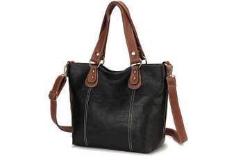 (Black) - Handbags for Ladies,Fashion Pu Leather Womens Handbags Convertible Tote bag Top Handle Shoulder Bag Crossbody Shopper Bag 2pcs Set