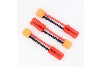 3pcs XT60 Male to HXT 4MM Female Bullet Connector Adapter Cable - 14awg 5cm Wire(BDHI-50)