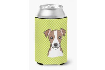 Checkerboard Lime Green Jack Russell Terrier Can or Bottle Hugger