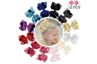 (Sequin Bow, Sequin 6in/12PCS) - 15cm Large Sequins Hair Bows 12PCS Glitter Sparkly Boutique Alligator Clips for Girls Toddlers Teens Women