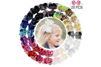 (7.6cm , Sequin 6in/20PCS) - 15cm Large Sequins Hair Bows 20PCS Glitter Sparkly Boutique Alligator Clips for Girls Toddlers Teens Women