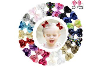(Sequin Bow, Sequin 3in/20PCS) - 7.6cm Sequins Hair Bows 20PCS Glitter Sparkly Boutique Alligator Clips for Girls Toddlers Teens Women