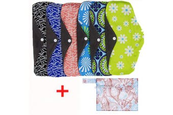 Reusable Sanitary Pads,Cloth Sanitary Towels 6 Pieces Washable Bamboo Charcoal Cloth Menstrual with Wet Bag Pretty Pattern and Secure Snap to Stay
