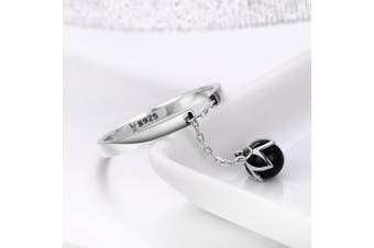 (Black) - CHENGMEN Dangle Simulated Pearl Flower Type Personality Ring Adjustable Size Chain Opening 925 Sterling Silver Rings for Women Mother's Day