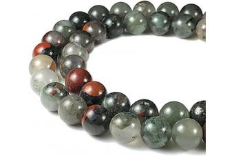 (Blood Stone (From Africa)) - [ABCgems] South African Setonite AKA Blood Stone 8mm Smooth Round Natural Semi-Precious Gemstone Healing Energy Beads