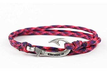 (Candy Snake) - Chasing Fin Adjustable Bracelet 550 Military Paracord with Fish Hook Pendant