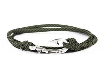 (Comanche) - Chasing Fin Adjustable Bracelet 550 Military Paracord with Fish Hook Pendant