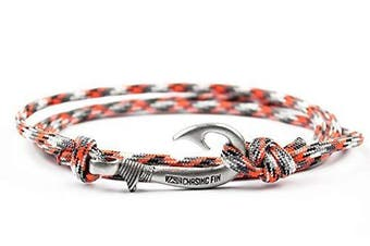 (Heavy Metal 2) - Chasing Fin Adjustable Bracelet 550 Military Paracord with Fish Hook Pendant