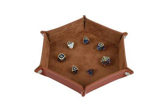 (Camel) - Dice Tray Metal Dice Rolling Tray Holder Storage Box for RPG DND Table Games, Double Sided Folding Thick PU Leather and High-Class Velvet Camel
