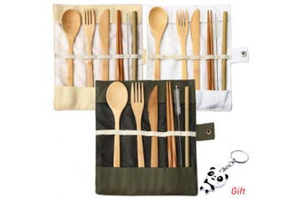 (3 Set Bamboo Cutlery(Army green+Beige+White)) - nuoshen 3 Set Bamboo Cutlery Set, Bamboo Travel Utensils Include Knife Fork Spoon Chopsticks Straws