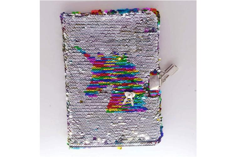 (Rainbow With Lock) - Poitemsic Unicorn Sequin Diary with Lock and Key Rainbow Reverse Sequins Notebook Journal for Girls Children Diaries School Supplies - 160 Pages