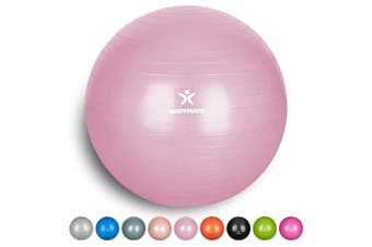 (55 cm (for body size <155cm), Princess Pink) - BODYMATE Exercise Ball - E-book with extensive exercise guides included - Swiss balls gym-quality for fitness birthing pregnancy - Air pump included - Anti-Burst ball chair sizes