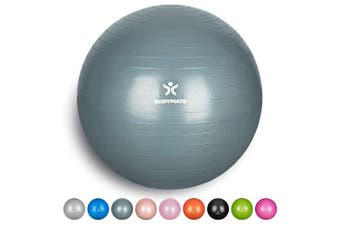 (75 cm (for body size 176-185cm), Cool Grey Blue) - BODYMATE Exercise Ball - E-book with extensive exercise guides included - Swiss balls gym-quality for fitness birthing pregnancy - Air pump included - Anti-Burst ball chair sizes