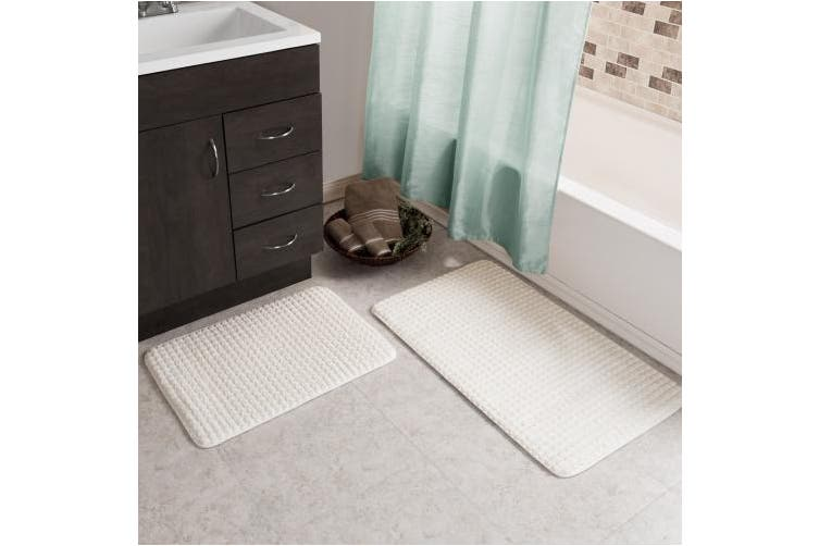 (navy) - 2 pc Memory Foam Bath Mat Set by Lavish Home - Woven Jacquard Fleece - Navy