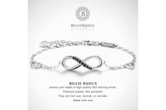 (B-black) - Billie Bijoux Womens 925 sterling Silver Infinity Endless Love Symbol Charm Adjustable Women's Bracelet for Mother's Day