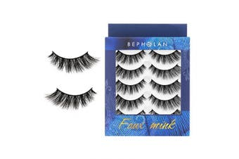 (XMZ116) - BEPHOLAN 5 Pairs False Eyelashes Synthetic Fibre Material | Natural Flare Look | Cruelty- Free and Handmade | Easy to Apply | 3D Faux Mink Lashes | XMZ116