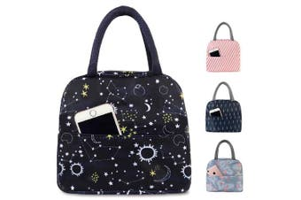 (Dark Star) - Buringer Reusable Insulated Lunch Bag Cooler Tote Box with Front Pocket Zipper Closure for Woman Man Work Picnic or Travel (Dark Star)