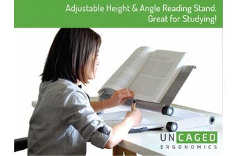 Adjustable Height and Angle Ergonomic Reading Stand Book Holder, Book holder, Tablet Stand, Document Holder. Perfect for Textbooks! Aluminium, Silver