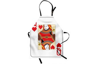 (Standard Size, Multi 40) - ABAKUHAUS Queen Apron, Queen of Hearts Playing Card Casino Design Gambling Game Poker Blackjack, Unisex Kitchen Bib Apron with Adjustable Neck for Cooking Baking Gardening, Vermilion Yellow White