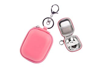(Rectangle-pink) - Mini Earbuds Case ASMOTIM Pink Airpods Case Keychain Airpods Carrying Case Earphones Carrying Case Hard PU Leather with Soft Inner with Metal Clasp and Keychain Compatible with Apple AirPods Bluetooth