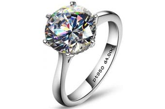 (N, 4.0 carats) - AINUOSHI 4 Carat Round Cubic Zirconia CZ Brilliant Simulated Diamond Solitaire Wedding Engagement Sterling Silver Ring