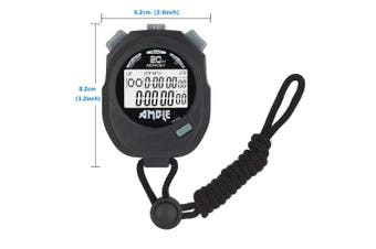 Amble Stopwatch, Countdown Timer and Stopwatch Record 20 Memories Lap Split Time with Tally Counter and Calendar Clock with Alarm for Sports Coaches and Referees