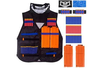 (Orange) - ACITMEX Kids Tactical Vest Kit Compatible with Nerf Guns N-Strike Elite Series, with 30 Pcs Refill Darts, 2 Long Reload Clips, 2 Face Tube Mask, 2 Hand Wrist Band