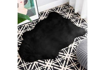 (0.6m x 0.9m Sheepskin, Black) - Carvapet Luxury Soft Faux Sheepskin Chair Cover Couch Seat Cushion Fur Pad Plush Area Rugs for Bedroom and Living Room, 0.6m x 0.9m, Black