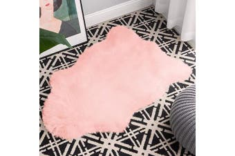 (0.6m x 0.9m Sheepskin, Pink) - Carvapet Luxury Soft Faux Sheepskin Chair Cover Couch Seat Cushion Fur Pad Plush Area Rugs for Bedroom and Living Room, 0.6m x 0.9m, Baby Pink