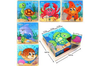 (Sea Animals (Part 2)) - Wooden Cube 3D Puzzle - Sea Animals | Wooden Cubes - 3D Puzzle (6 in 1) with Tray | Developing of Fine Motor Skills, Memory Toys for Kids | Learning Shape, Colour and Sorting | Birthday Gift for Kids