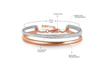 (Rosengold1) - Angelady♥Timeline Lover♥Women Bracelets Cuff with Shining Crystals, Adjustable Rose Gold & Silver Plated Bangles with Jewellery Gift Box