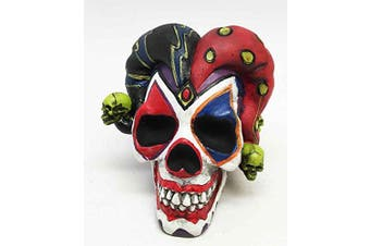 EXQUISITE JESTER JOKER SKULL CLOWN TERROR RESIN SCULPTURE FIGURINE