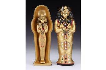 ANCIENT EGYPTIAN PHARAOH KING TUT SARCOPHAGUS AND MUMMY STATUE TUTANKHAMUN