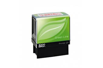(Posted) - 2000 PLUS Green Line Self-Inking Message Stamp, POSTED, 80% Recycled, 3.8cm x 1.4cm impression, Red Ink (098371)