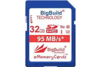 (32GB) - BigBuild Technology 32GB U3 95MB Memory Card For Panasonic HC MDH2 V180EBK V180ECK V180EGK V180GNK V180K V380 V380EBK V380EGK VX1K VX870 VXF1 W580EBK W580EGK W585MT W585MW WXF1K WXF990M X1E Camcorder