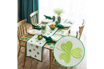 (38cm  x 270cm , St Patrick's Day) - Cassiel Home St Patrick's Day Shamrock Embroidery Irish Green Clovers White Table Runners Table Cloths 15x108 Everyday Use
