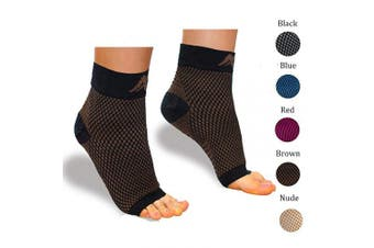 (Small, Black/Brown) - Plantar Fasciitis Socks with Arch Support for Men & Women - Best Compression Socks Foot Sleeve for Aching Feet & Heel Pain Relief
