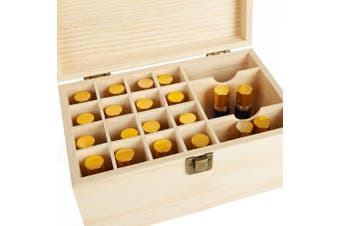 Mind Reader Essential Oil Wooden Storage Box Organiser, Protector , Holds 19 Bottles, Case Box, Brown