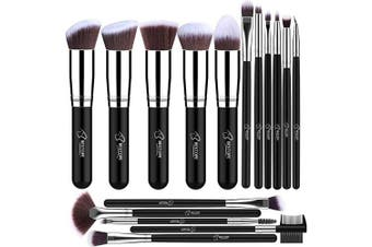 (Silver) - Makeup Brushes BESTOPE Makeup Brush Set Professional 16 Pcs Make Up Brushes Premium Synthetic Brush for Foundation Blending Face Powder Blush Concealers Eye Cosmetics -Silver