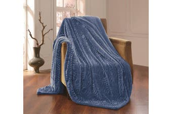 (blue, queen/king) - All American Collection New Solid Plush Throw Blanket with Sherpa/Borrego Backing Queen/King Size