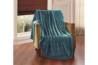 (tealblue, queen/king) - All American Collection New Super Soft Solid Embossed Ashly Throw Blanket Queen/King Size