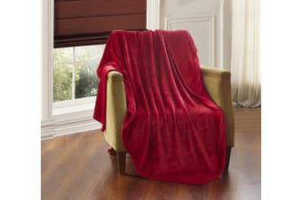(red, queen/king) - All American Collection New Super Soft Solid Embossed Ashly Throw Blanket Queen/King Size